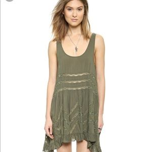 Free People Green Voile & Lace Trapeze Slip Dress